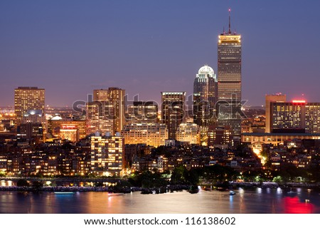 Boston's Back Bay skyline at dusk, aerial - stock photo