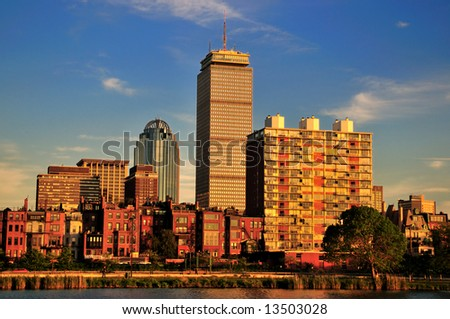 Boston sky line on a bright sunny after noon