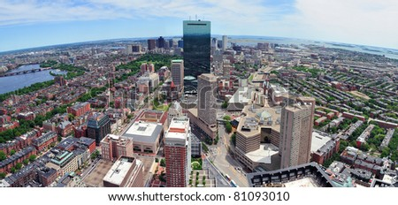 Boston skyline aerial view panorama with skyscrapers and Charles River. - stock photo