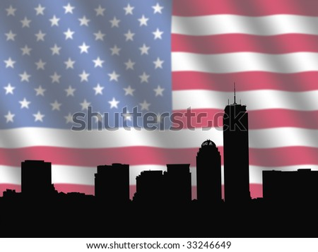 Boston skyline against blurred American Flag illustration - stock photo