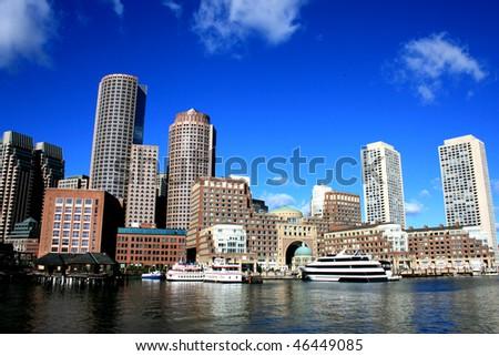 Boston skyline along the harbor. - stock photo