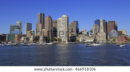 Boston skyline and harbor, USA
