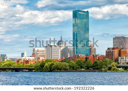 Boston skyline and historic Back Bay neighborhood viewed from the Charles River. Copy space for text. - stock photo