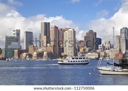 Boston skyline and Inner harbor, Massachusetts, USA - stock photo