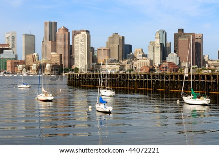 Boston skyline and old pier