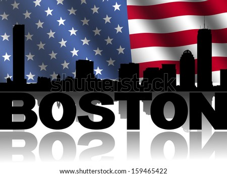 Boston skyline and text reflected with rippled American flag illustration - stock photo