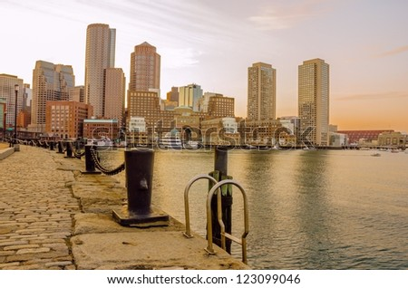 Boston Skyline and Waterfront at sunset - stock photo