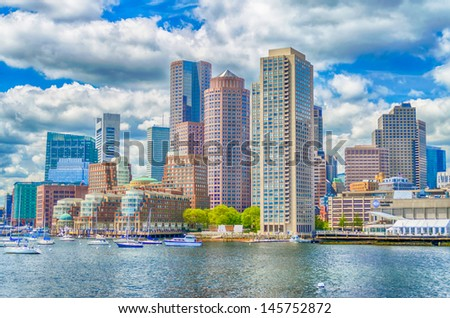 Boston Skyline as seen from the Bay - stock photo