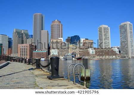 Boston skyline as seen from the Seaport District.