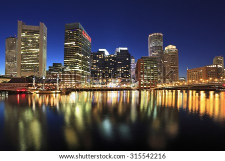 Boston skyline at dusk, USA - stock photo