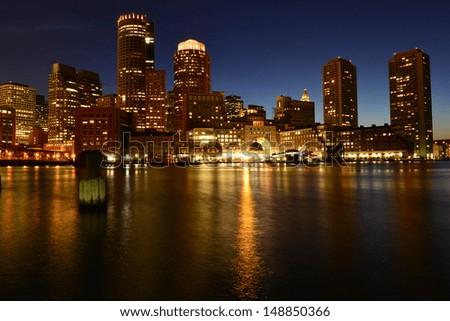 Boston skyline at night, Boston, MA, USA - stock photo