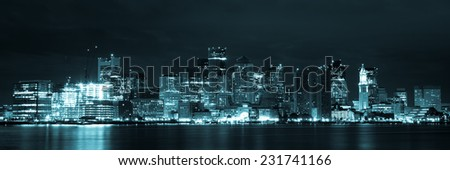Boston skyline by night from East Boston, Massachusetts - USA - stock photo