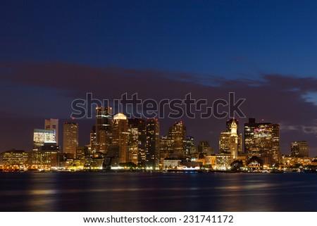 Boston skyline by night from East Boston, Massachusetts - USA - stock photo