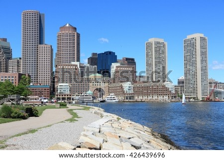 Boston skyline, city view in Massachusetts, USA. - stock photo