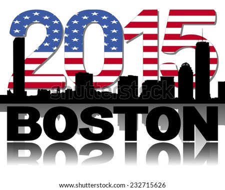 Boston skyline 2015 flag text illustration - stock photo