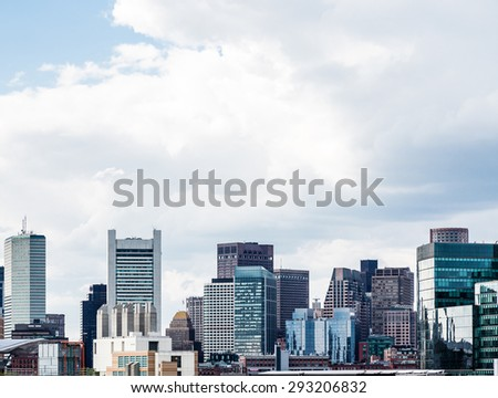 Boston Skyline from commercial and frieght pier - stock photo