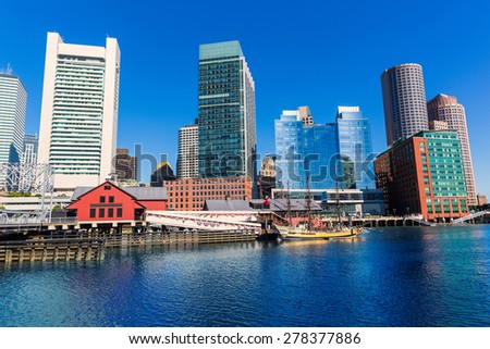 Boston skyline from Fan Pier at sunlight in Massachusetts USA - stock photo