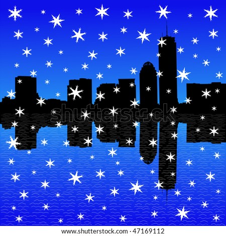 Boston skyline in winter with falling snow illustration JPEG