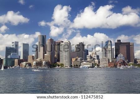 Boston skyline, Inner Harbor, USA - stock photo