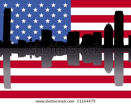 Boston skyline reflected with American flag illustration JPG - stock photo