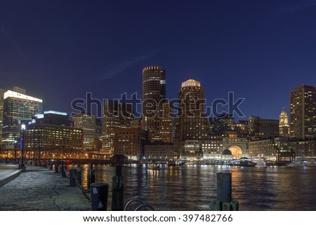 Boston Skyline, Seen from Near Moakley Courthouse on Fan Pier