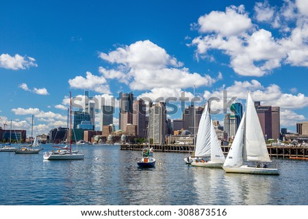 Boston skyline seen from Piers Park, Massachusetts, USA - stock photo