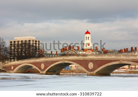 Boston Skyline Showing John W. Weeks Bridge on a Cloudy Afternoon, Boston, Massachusetts. - stock photo
