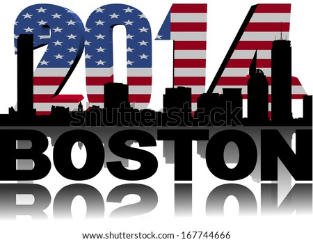 Boston skyline with 2014 American flag text illustration - stock photo
