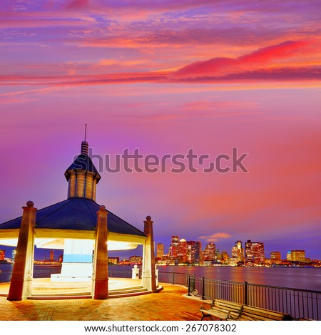 Boston sunset from wharf in Massachusetts USA - stock photo