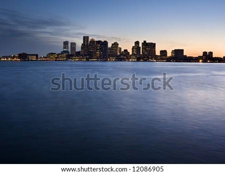 Boston Twilight Skyline - stock photo