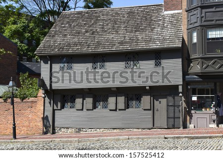 BOSTON, USA - JULY 2: Paul Revere House, built in 1680, was the colonial home of American patriot Paul Revere during the American Revolution. Seen on a sunny day of July 2, 2013 in Boston, MA, USA. - stock photo