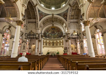 BOSTON, USA - JUNE 13, 2015: Saint Leonard Catholic church was the first Roman Catholic church in Boston and its ornate architecture is the product of work by Italian immigrants. - stock photo