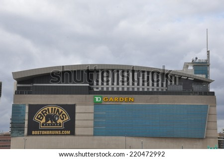 BOSTON, USA - SEP 13: he TD Garden in Boston, as seen on Sep 13, 2014. This is the home stadium of the Boston Bruins hockey team and the Boston Celtics baseball team located in Boston. - stock photo