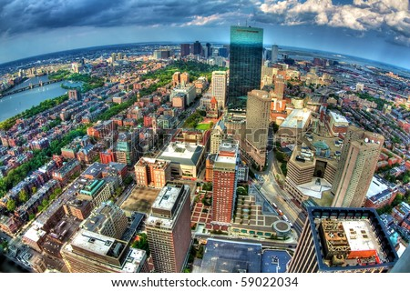 Boston view from the top of the Prudential Tower. - stock photo