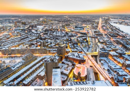 Boston view from top of Prudential Tower after snowstrorms at dusk - stock photo
