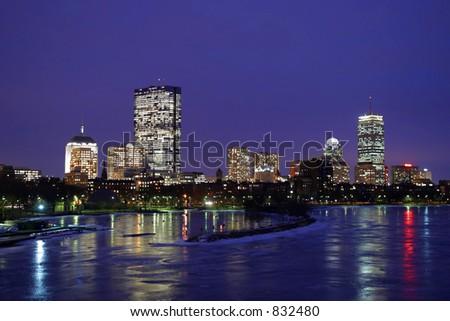 Boston Winter Skyline - stock photo