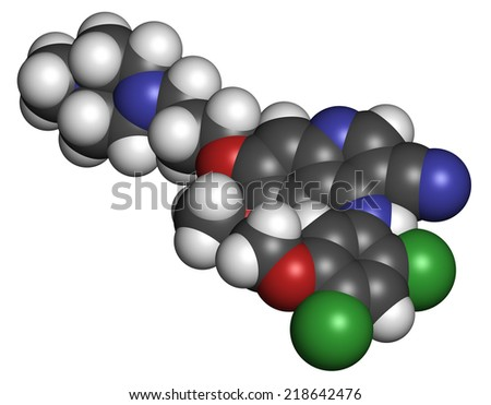 Bosutinib chronic myelogenous leukemia (CML) drug molecule. Tyrosine kinase inhibitor targeting Bcr-Abl and SRc family kinase. Atoms are represented as spheres with conventional color coding. - stock photo