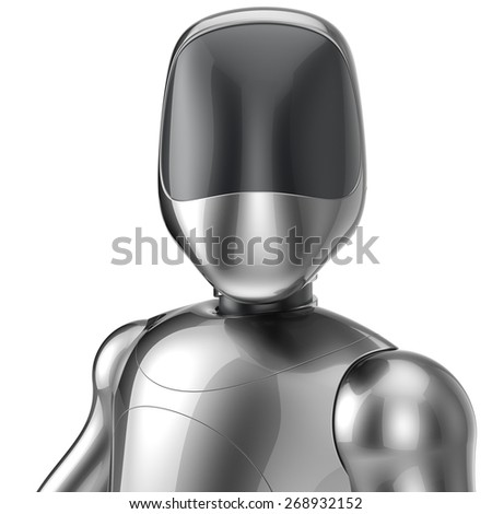 Bot cyborg robot android futuristic artificial character concept chrome metallic shiny. 3d render isolated on white background - stock photo