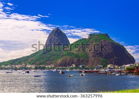 Botafogo and mountain Sugar Loaf and Urca in Rio de Janeiro. Brazil - stock photo