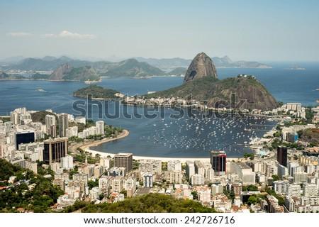 Botafogo bay - Rio de Janeiro, Brazil during hot summer - stock photo