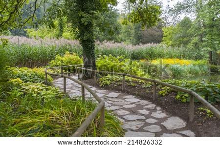 Botanical garden Volcji potok, arboretum, Kamnik, Slovenia - stock photo