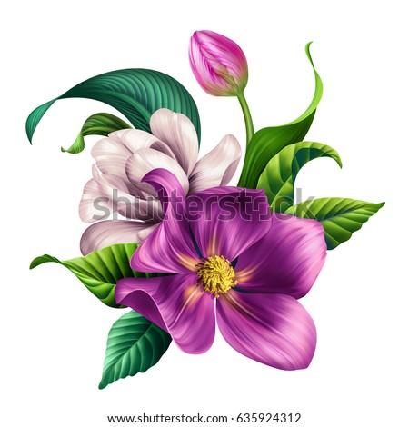 Botanical Illustration Beautiful Tropical Flowers Bouquet Arrangement Floral Clip Art Isolated On White