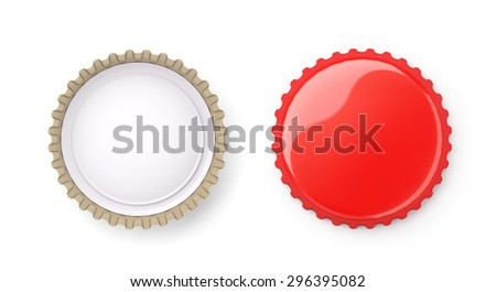 Both sides of a red metal bottle cap , isolated on white ,  3d render - stock photo