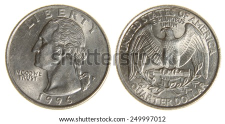 Both sides of an old (1966) US quarter, isolated on a white background.