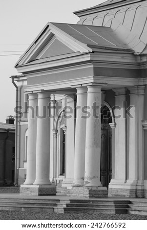 Botnia house, Peter and Paul Fortress, St.Petersburg., Russia Black and white.