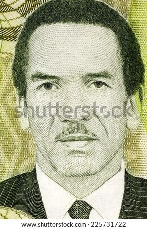 BOTSWANA - CIRCA 2009: Seretse Khama (1921-1980) on 10 Pula 2009 Banknote from Botswana. Statesman from Botswana. - stock photo