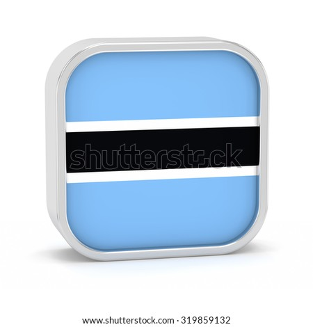 Botswana flag sign on a white background. Part of a series. - stock photo