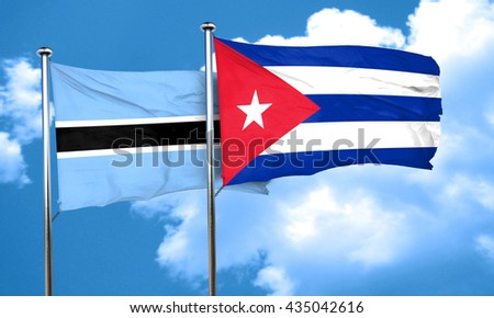 Botswana flag with cuba flag, 3D rendering