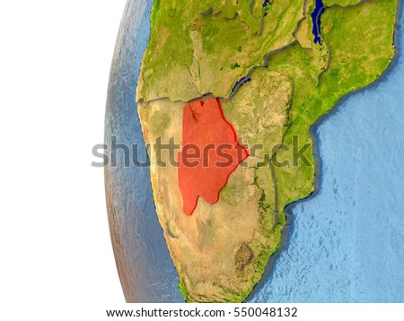 Botswana in red on a globe with reflective ocean waters. 3D illustration with highly detailed realistic planet surface. Elements of this image furnished by NASA.