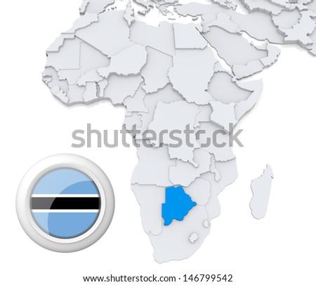 Botswana with national flag - stock photo